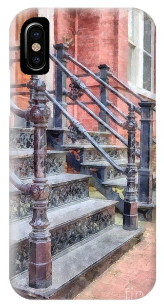 Bricks iPhone Case - Rowhouse Stairs Washington Dc Neighborhood by Edward Fielding