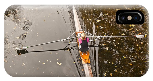 Rowing In Autumn Phone Case by Raevas