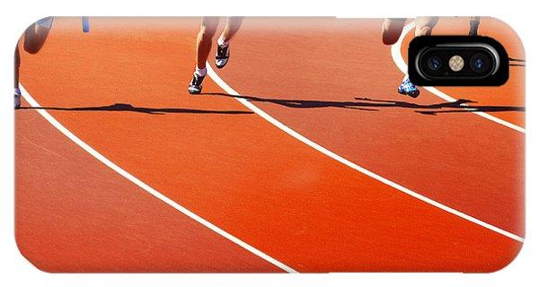 Struggle iPhone Case - Running Athletes At Stadium In Relay by Valery Bareta