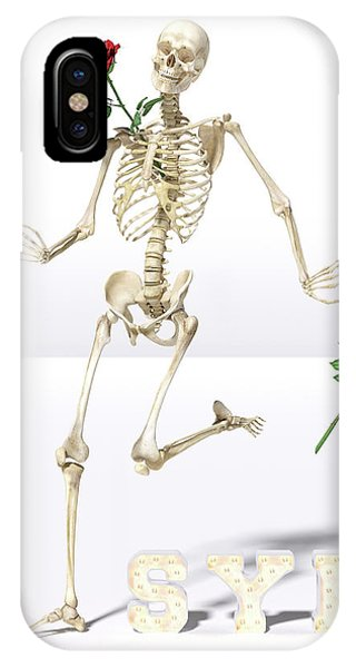 Human Interest iPhone Case - Running Rose Skeleton by Betsy Knapp