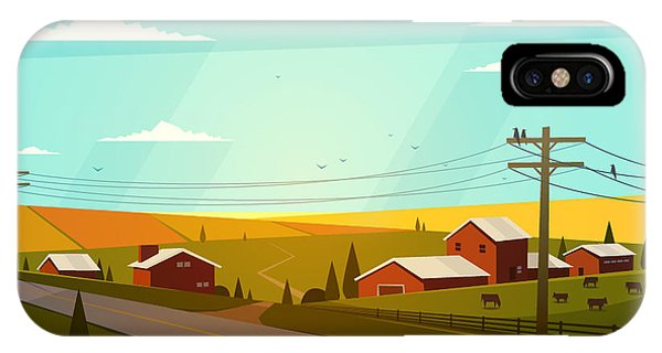 Rural Landscape. Vector Illustration Phone Case by Doremi