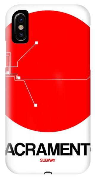 Sacramento iPhone X Case - Sacramento Red Subway Map by Naxart Studio