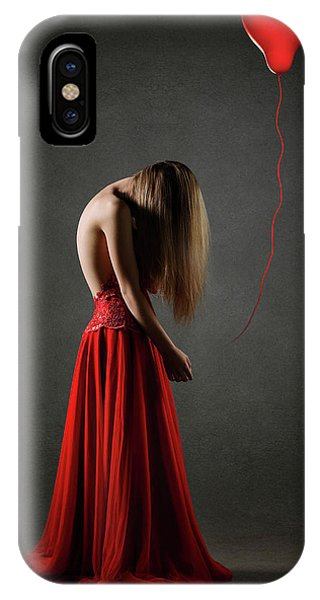 Anguish iPhone Case - Sad Woman In Red by Johan Swanepoel
