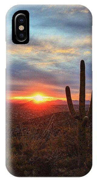 Saguaro Cactus And Tucson At Sunset IPhone Case