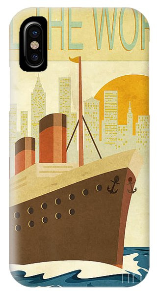 Cruise Ship iPhone Case - Sail The World - Vintage Poster With by Lanan