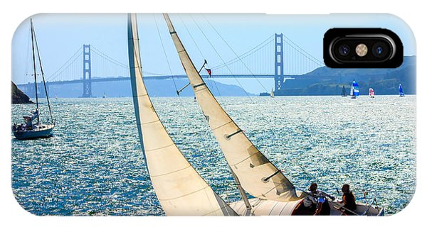 Ocean Breeze iPhone Case - Sailboats In The San Francisco Bay by Kevin Bermingham