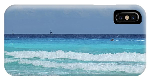 Jet Ski iPhone Case - Sailing And Jet Skiing On The Beautiful Blue Water Of Cancun Beach Cancun Mexico by Toby McGuire