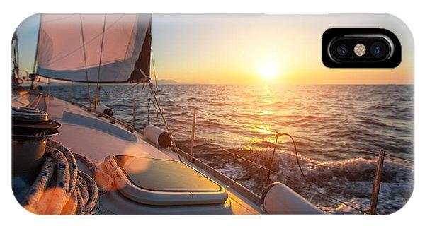 Trip iPhone Case - Sailing Ship Luxury Yacht Boat In The by De Visu