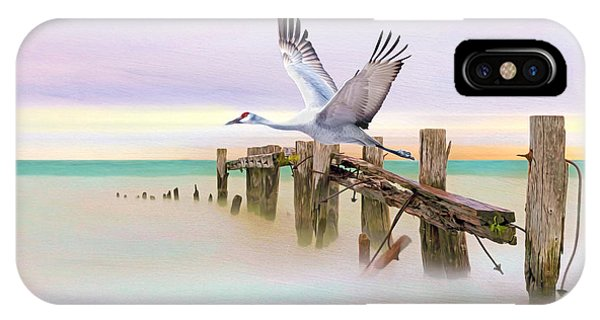 Sandhill Crane iPhone Case - Sandhill Crane And Old Dock by Laura D Young