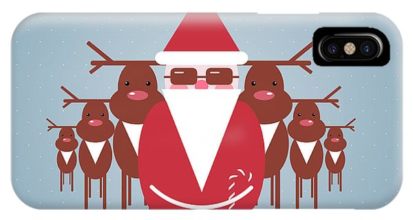 Santa Claus iPhone Case - Santa And His Reindeer Gang by Popmarleo