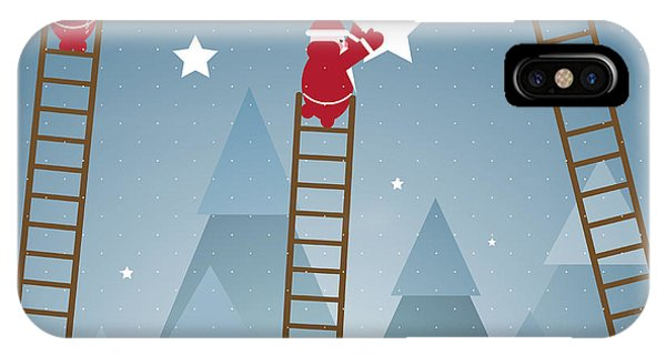 Santa Claus iPhone Case - Santa Hanging Stars And Christmas by Popmarleo