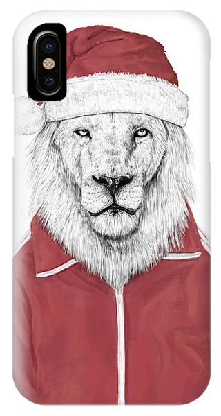 Winter iPhone Case - Santa Lion  by Balazs Solti