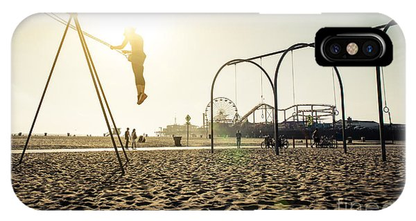Beams iPhone Case - Santa Monica Beach. Silhouette Of A by Oneinchpunch