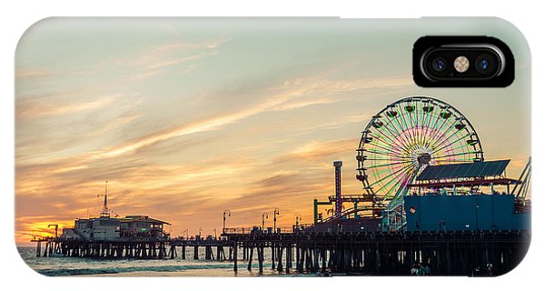 Dusk iPhone Case - Santa Monica Pier At Sunset, Los Angeles by Oneinchpunch