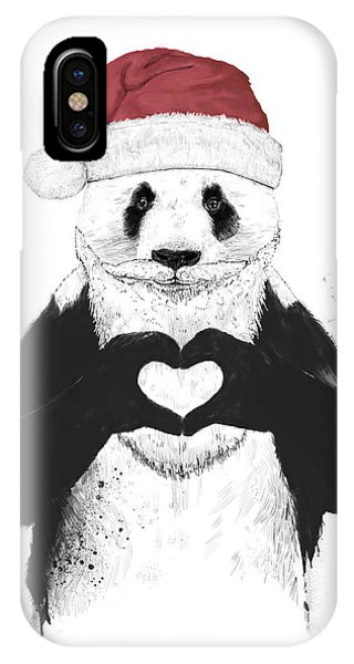 Santa Claus iPhone Case - Santa Panda by Balazs Solti