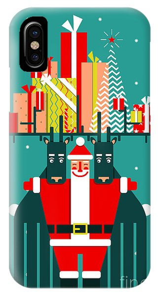 Santa Claus iPhone Case - Santa With Deers Gifts And Presents by Popmarleo