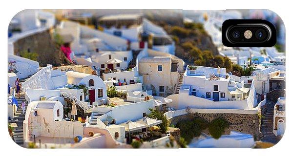Dome iPhone Case - Santorini Island, Greece, Tilt-shift by Anastasios71