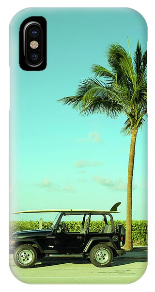 Palm Tree iPhone X Case - Saturday Surfer Jeep by Laura Fasulo