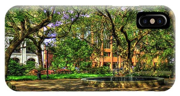 St. Patricks Day iPhone Case - Savannah Shade Historic Savannah Parks Savannah Georgia Art by Reid Callaway