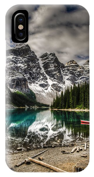 Banff iPhone Case - Scenic Mountain Landscape Of Moraine by Bgsmith