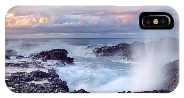 Dusk iPhone Case - Scenic View Of Blowhole On Rocky by Infografick