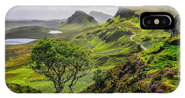 Isle Of Skye iPhone Case - Scenic View Of Quiraing Mountains In by Martin M303