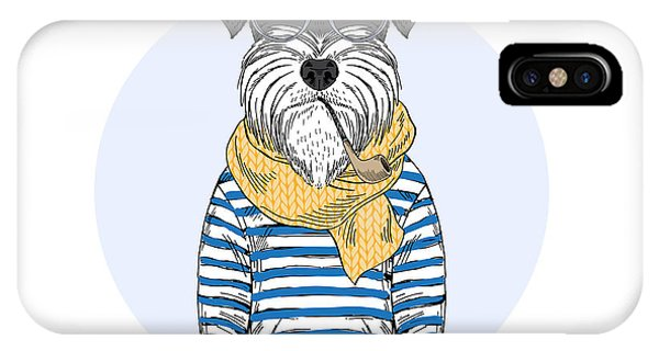 Small Dog iPhone Case - Schnauzer Dog Sailor, Nautical Poster by Olga angelloz