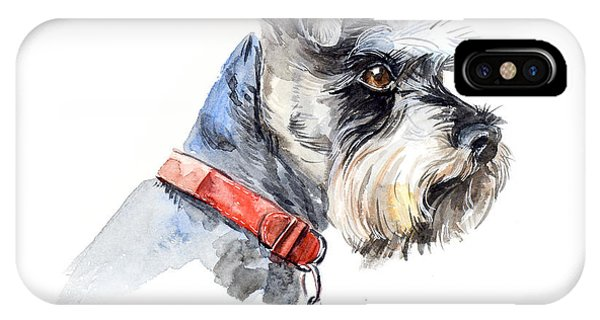 Small Dog iPhone Case - Schnauzer. Portrait Of A Dog. Set With by Marya Kutuzova