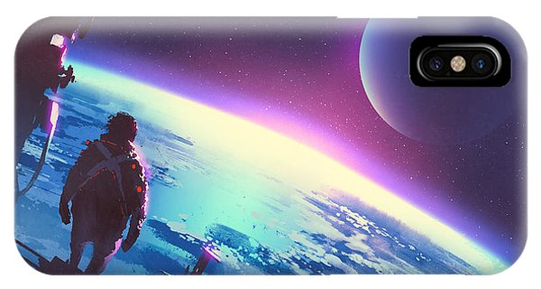 Space iPhone Case - Sci-fi Concept Of The Man Looking At A by Tithi Luadthong