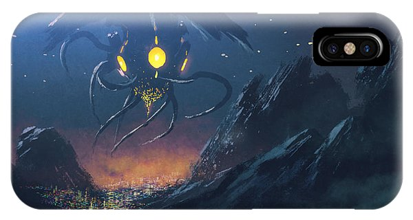 Space iPhone Case - Sci-fi Scene Of The Alien Ship Invading by Tithi Luadthong