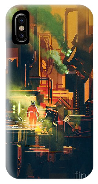Astronaut iPhone Case - Sci-fi Scene Showing Red Astronaut by Tithi Luadthong