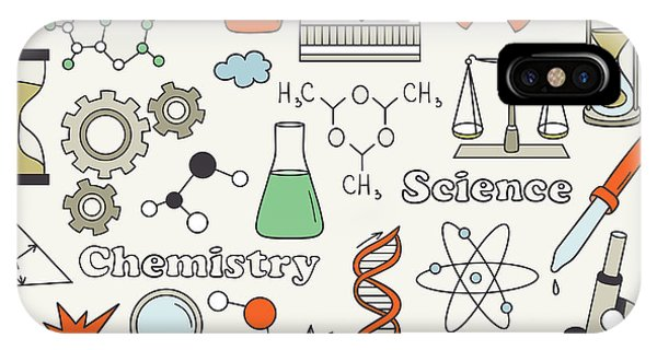 Danger iPhone Case - Science Icon Set Hand Drawn. Doodle by Talirina