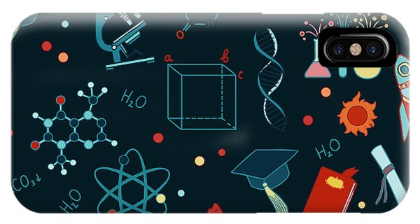 Seamless iPhone Case - Science Stuff Vector Seamless Pattern by Anastasia Mazeina