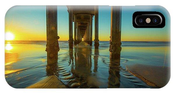 Scripps Pier iPhone Case - Scripps Pier San Diego Sunset 2 by Edward Fielding
