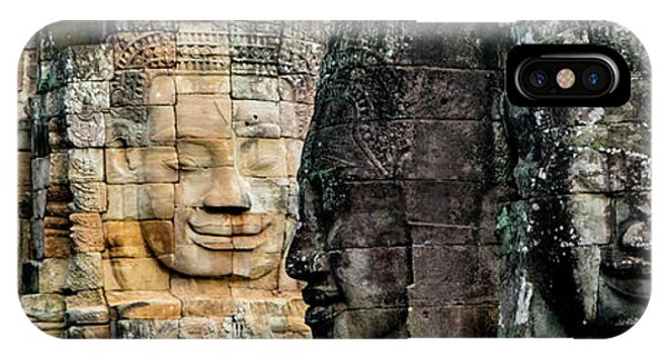 Angkor Thom iPhone Case - Sculptures At Bayon Temple, Angkor by Panoramic Images