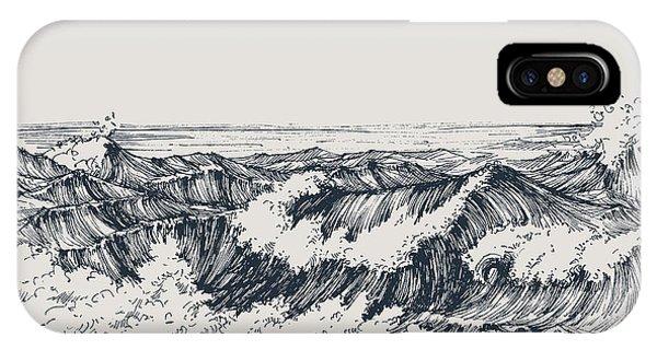 Space iPhone Case - Sea Or Ocean Waves Drawing. Sea View by Danussa