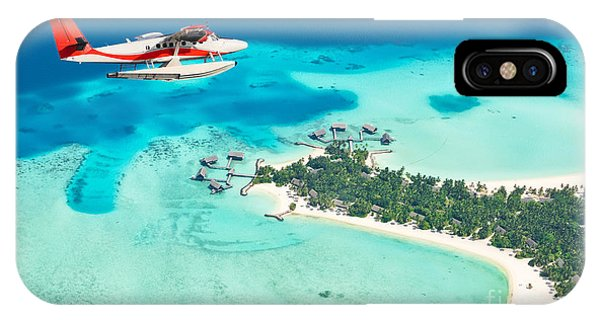 Airplanes iPhone Case - Sea Plane Flying Above Maldives Islands by Jag cz