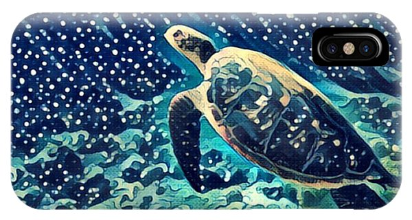 Egyptian iPhone X Case - Sea Turtle Swimming Underwater. Digital by Davdeka