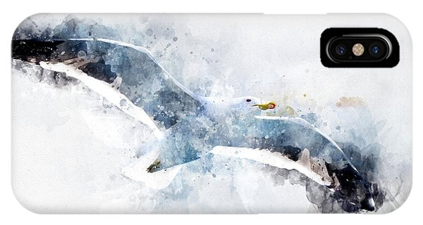 Seagull In Flight With Watercolor Effects IPhone Case