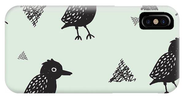 Winter Fun iPhone Case - Seamless Blackbird Crow Illustration by Maaike Boot