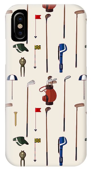 Golf Ball iPhone Case - Seamless Cartoon Golf Game Pattern by Notkoo