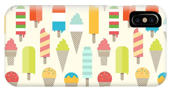 Freeze iPhone Case - Seamless Colorful Ice Cream Pattern by Shirstok