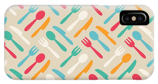 Fork iPhone Case - Seamless Cute Pattern With Color by Magnia