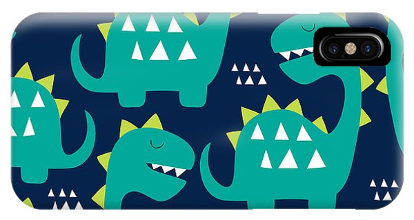 Baby Blue iPhone Case - Seamless Dinosaur Pattern Vector by Larienn