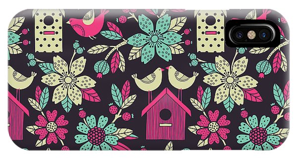 Seamless Floral Pattern With  Birdhouses Phone Case by Tets