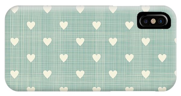 Grey Background iPhone Case - Seamless Hearts Polka Dot Pattern With by Anastasiia Kucherenko