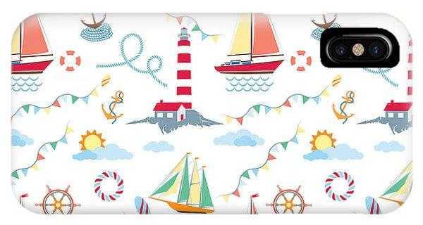 Lighthouse iPhone Case - Seamless Marine Pattern With Ships by Julia kondakov