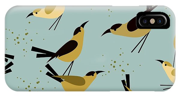 Colorful Bird iPhone Case - Seamless Pattern Little Birds On A by Marrishuanna