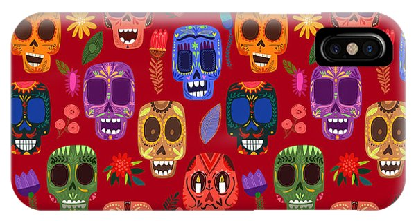 Death iPhone Case - Seamless Pattern-mexican Day Of The by Ovocheva