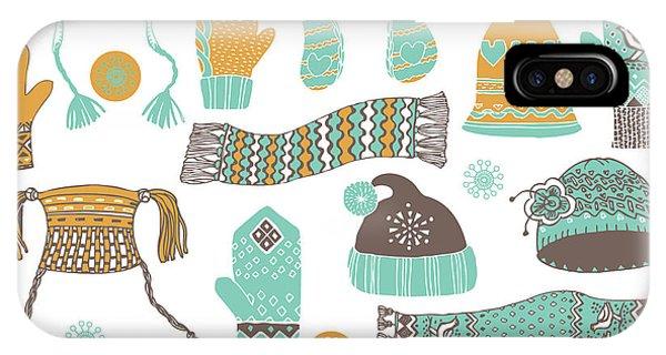 Seamless Pattern Of Winter Woollies Phone Case by Lavandaart